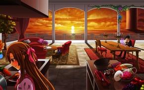 Обои море, девушка, закат, комната, столы, кухня, парень, фрукты, sword art online, yuuki asuna, kirito