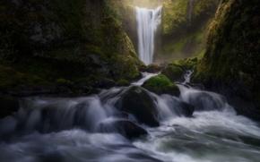 Картинка водопад, скалы, река, камни, поток