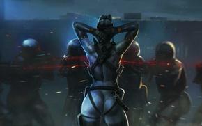 Картинка девушка, ночь, арт, солдаты, прицел, спиной, коммандо, лазерный, враги, Salvador Trakal