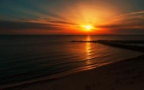 Картинка море, пляж, солнце, закат