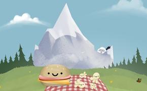 Картинка лес, облака, снег, горы, бабочка, луг, forest, sky, butterfly, mountain, snow, попкорн, Yeti, сэндвич, Steam, …