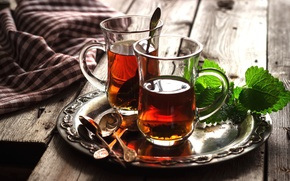 Обои напиток, чай, стаканы, мята