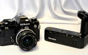 Картинка фон, однообъективный, малоформатный, зеркальный фотоаппарат, привод, Nikon FA, Nikon motor MD-12, матричный замер экспозиции
