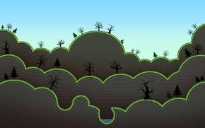 Картинка небо, деревья, озеро, рассвет, листва, весна, зайцы, ёлки