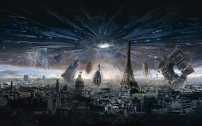 Картинка City, Paris, France, Day, Sam, Aliens, General, Independence Day, Arc de Triomphe, Louvre, 20th Century …