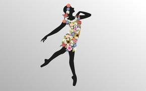 Обои цветы, вектор, грация, танец, балерина, рисунок, девушка, силуэт