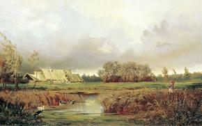 Картинка болото, картина, осенью, волков
