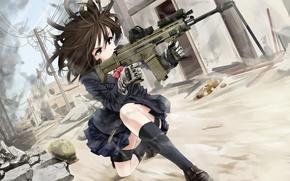 Картинка девушка, оружие, пыль, арт, автомат, форма, руины, omaru09