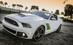Картинка белый, Ford, mustang, white, диски, muscle car, roush, green stripes, rs3, масл кар