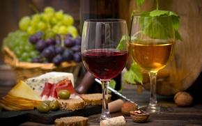 Картинка вино, красное, орехи, сыр, белое, бокалы, корзина, виноград