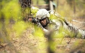 Картинка солдат, автомат, мужчина