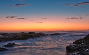 Обои Закат, вода, берег, камни, 158