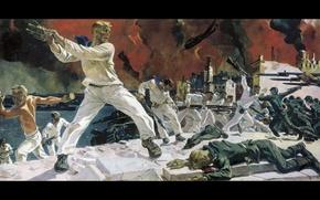 Картинка картина, бой, героизм, А. Дейнека, рукопашная, мужество, Оборона Севастополя