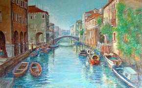 Картинка лодки, Венеция, канал, пастель, Italy, Venezia