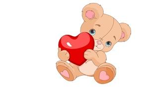 Картинка праздник, подарок, сердце, арт, мишка, валентинка, День святого Валентина, детская