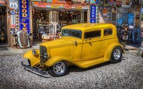 Картинка ретро, Ford, заправка, автомобиль, классика, бензоколонка, сервис