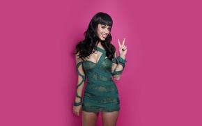 Обои брюнетка, Katy Perry, улыбка, певица, модель