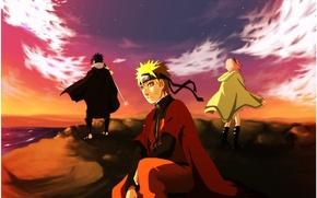 Картинка море, закат, naruto, art, утёс, Sakura Haruno, Uchiha Sasuke, Naruto Uzumaki, team of seven