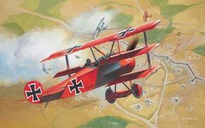 Картинка самолёт, красный барон, триплан, первая мировая