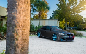 Картинка BMW, Car, Blue, Front, Sun, Sport, Wheels, Beemteam