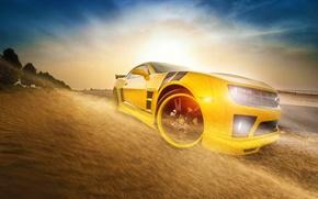 Обои chevrolet, camaro, ss, yellow, bumblebee, transformers, sun, car