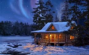 Картинка зима, лес, вода, звезды, свет, снег, ночь, дом, сияние, ручей, деревянный, живопись, бревенчатый, Darrell Bush, …