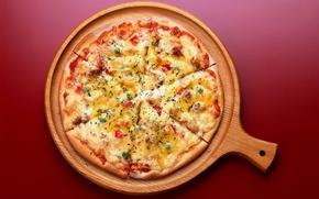 Обои красный, фон, еда, пицца, food, pizza, вкусно