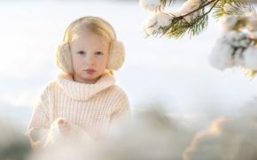 Картинка снег, портрет, девочка, Sandra Jolly