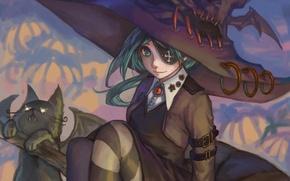 Картинка девочка, хеллоуин, тыквы, ведьма, halloween, кот