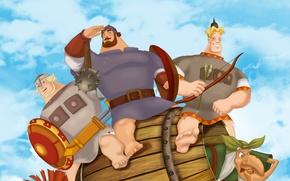 Картинка Три богатыря на дальних берегах, Алеша Попович, Добрыня Никитич, Илья Муромец