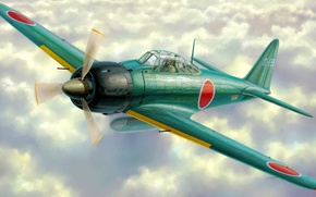 Картинка fighter, war, art, airplane, painting, ww2, a6m zero