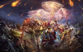 Обои магия, крылья, ангел, меч, армия, битва, Perfect World