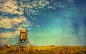 Картинка поле, лето, пейзаж, стиль, сено
