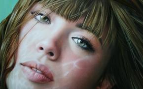 Картинка взгляд, девушка, лицо, волосы, арт, губы, зеленые глаза, Christiane Vleugels