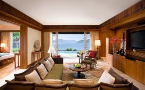 Картинка комната, диван, горы, кровать, телевизор, море, подушки, пейзаж., дом, спальня, кресла, бассейн