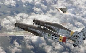 Картинка истребитель, арт, Focke-Wulf, roen911, Fw-230, Ta-152, Zwilling, Erla