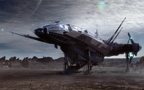Картинка фантастика, корабль, планета, game wallpapers, Star Citizen