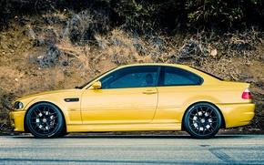 Картинка Дорога, BMW, БМВ, Желтая, E46, Сбоку