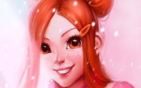 Картинка девушка, лицо, улыбка, аниме, арт, веснушки, заколка, koizumi risa, lovely complex, трогательный комплекс, ayyasap