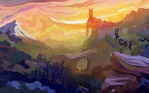 Картинка облака, деревья, горы, олень, арт, нарисованный пейзаж