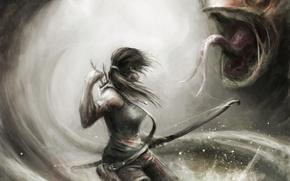 Картинка девушка, оружие, монстр, лук, арт, Tomb Raider, стрелы, Lara Croft
