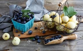Картинка посуда, голубика, корзинка, черника, ягоды, фрукты, корзина, сливы, яблоки