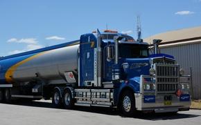 Картинка синий, kenworth, цистерна, tanker, w900
