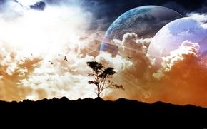 Обои небо, земля, луна