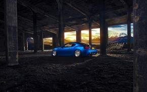 Обои Subaru, Car, Blue, Sun, Mountain, Sport, BBS, BRZ, Wheels, Rear, Stanceworks