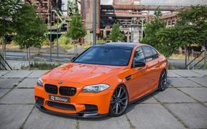 Картинка car, тюнинг, BMW, автомобиль, передок, orange, 3D Design