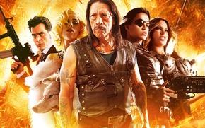 Картинка Action, Fire, Danny Trejo, Men, Girls, Blonde, Woman, Lady Gaga, Michelle Rodriguez, Weapons, Movie, Film, …