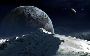 Картинка снег, горы, планета, спутник