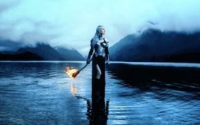 Картинка девушка, доспехи, факел, Kindra Nikole