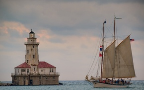 Картинка озеро, маяк, парусник, Чикаго, Иллинойс, Chicago, Illinois, озеро Мичиган, Lake Michigan, шхуна, Schooner Appledore IV, …